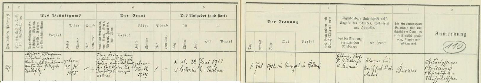 """Podle tohoto německy psaného záznamu českobudějovické židovské matriky se 1. července roku 1912 konala ve zdejší synagoze (""""im Tempel in Budweis"""") svatba jeho rodičů: Alfred Fried, obchodník v Českých Budějovicích, narozený 28. dubna roku 1885 ve Vlašimi, syn Salomona Frieda a Juli, roz. Budlofsky, si tu bral za ženu Klaru Maierovou, narozenou 22. června 1884 v Schönwaldu (dnes Lesná), okr. Tachov, jako dcera Moritze Emanuela Maiera a jeho ženy Wilhelminy, roz. Wollnerové - svatební obřad provedl rabín prof.Dr. Karl Thieberger, svědky byli Salomon Fried a Moritz Emanuel Maier"""