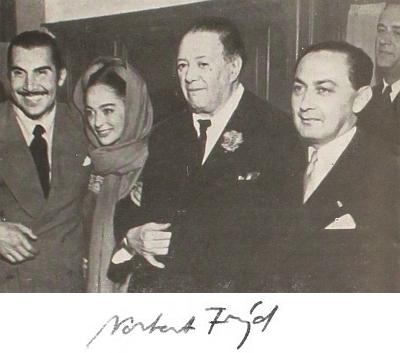 Norbert Frýd (vpravo) s režisérem Emiliem Fernándezem, herečkou Columbou Domínguezovou a malířem Diegem Riverou