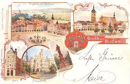Tady se rodný dům ocitl dokonce na malované pohlednici budějovického nakladatelství L.E. Hansen