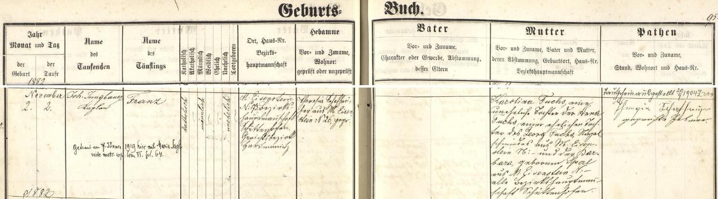 Záznam o jeho narození v železnorudské křestní matrice