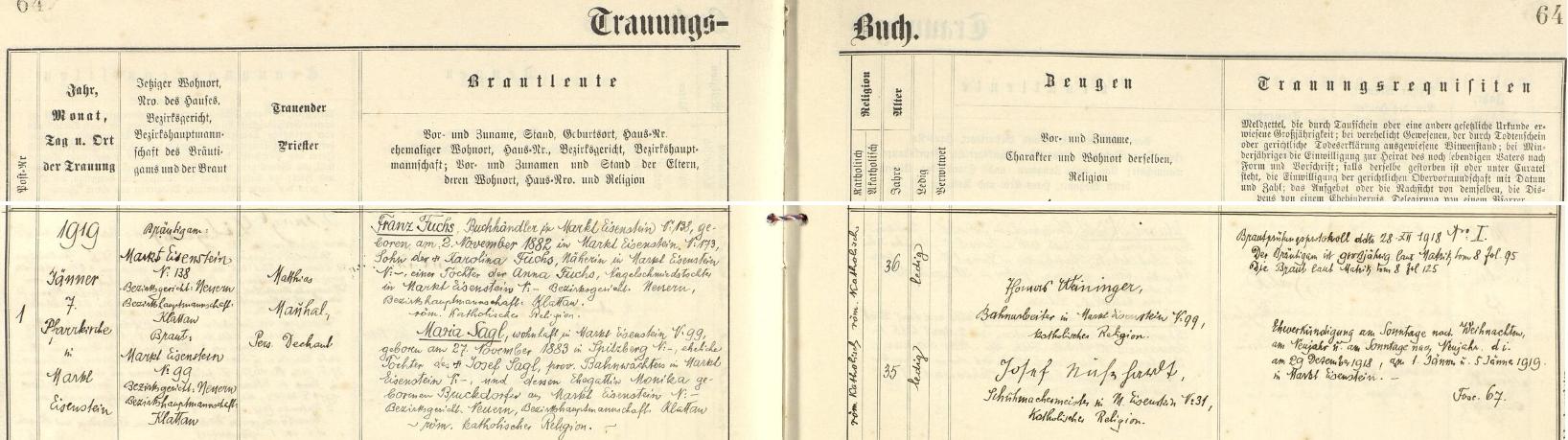 V lednu roku 1919 se podle tohoto záznamu železnorudské oddací matriky oženil s Marií Saglovou