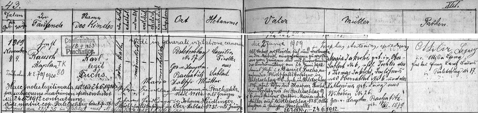 """Dosti obsažný záznam o jeho narození a """"legitimizaci"""" v prachatické křestní matrice pro osadu Perlovice"""