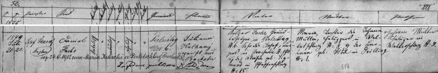 Záznam o narození jeho otce v prachatické křestní matrice pro osadu Perlovice
