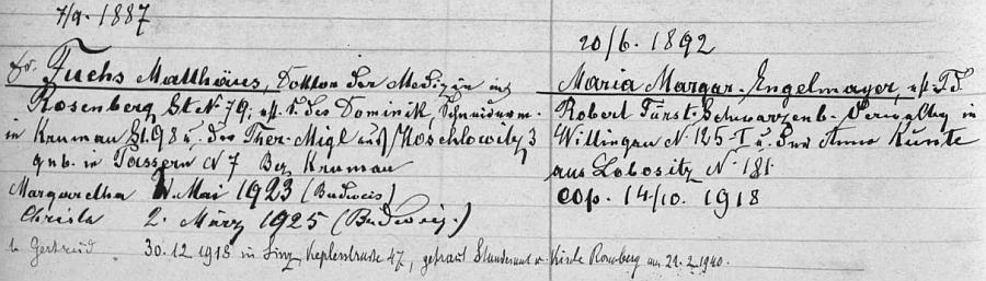 """Záznam v """"rodovém katastru"""" s rodinou Fuchsovou, doplněný v Rožmberku nad Vltavou ještě roku 1940"""