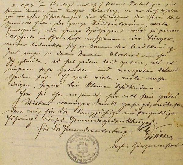 Jeho zápis o odchodu děkana Urbana Webingera v rožmberské kronice