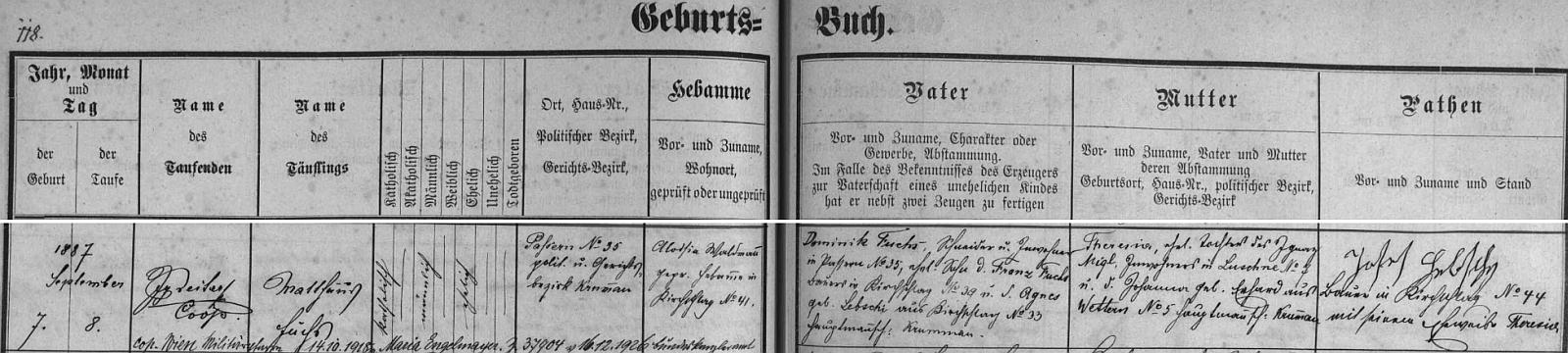 Záznam křestní matriky farní obce Světlík o jeho narození v Pasovarech čp. 35