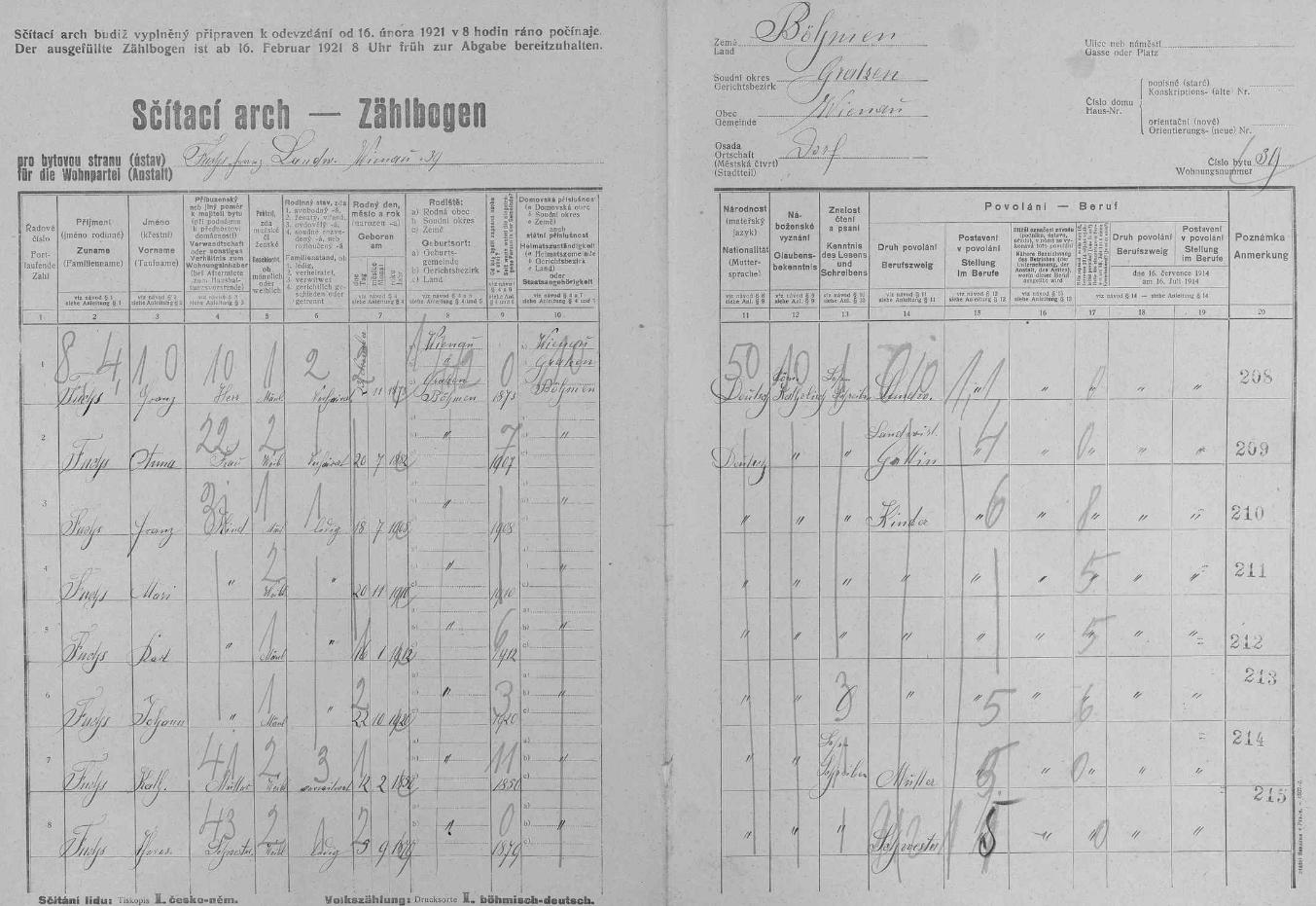 Arch sčítání lidu z roku 1921 pro dům čp. 39 ve Štiptoni i s ním