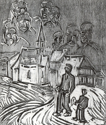 Cesta s dědečkem ke kapli v Lipce na Fuchsově dřevorytu
