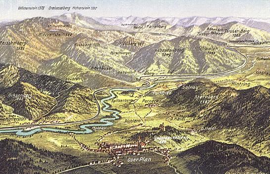 Panoramatické pohledy na okolí Horní Plané (pohlednice)