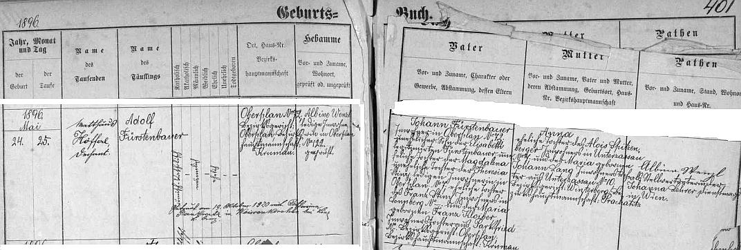 Narodil se podle záznamu v hornoplánské matrice Johannu Fürstenbauerovi a jeho ženě Anně, roz. Spitzenbergerové, původem z dnes zaniklého Dolního Cazova, přípis pak uvádí i datum jeho svatby v roce 1920 sKatharinou, roz. Pankratzovou, ve Weissenkirchen u rakouského Lince