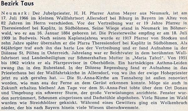 Nekrolog faráře Mayera na stránkách krajanského časopisu