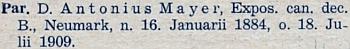 Záznam o faráři Antonu Mayerovi v diecézním katalogu pro rok 1938