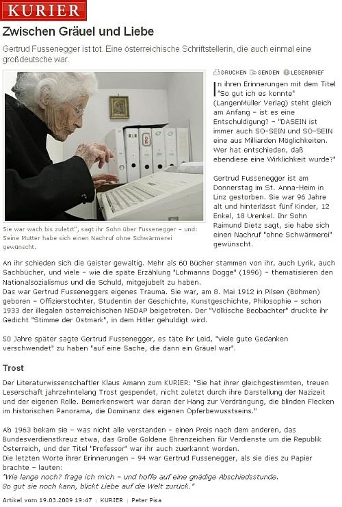 """Její nekrolog v rakouském listu """"Kurier"""""""
