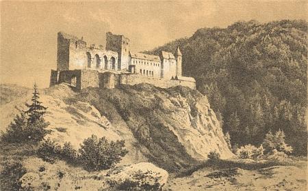 Kostel v Petrovicích a hrad Velhartice na dvou ilustracích jeho knihy