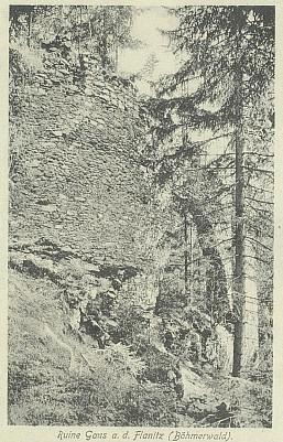 Zřícenina hradu Hus na pohlednici zroku 1911...