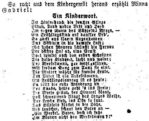 V roce 1914 vyšla ve vídeňských novinách tato báseň
