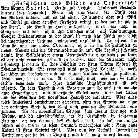 Nepříliš příznivá recenze této knihy vyšla ve vídeňském tisku na Nový rok 1910