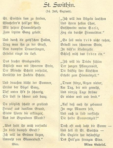 Prachatický časopis Der Böhmerwald otiskl i její báseň o anglickém světci Swithinovi, zaslanou autorkou z Vídně