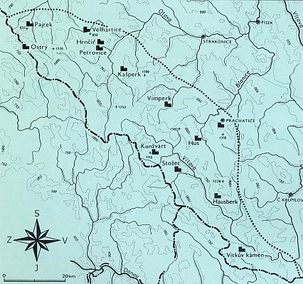 Mapa středověkých hradů na Šumavě