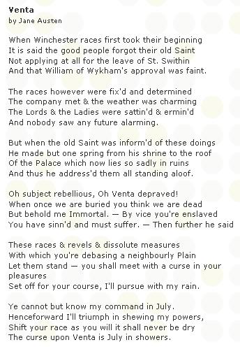 ... Poslední známou literární prácí, kterou za svého života napsala, je báseň Venta s motivem sv. Swithina, která vznikla dva dny před spisovatelčiným skonem
