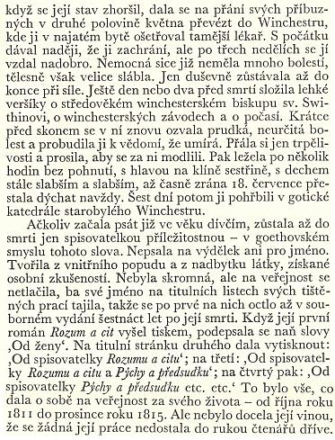"""Toto není zpráva o posledních chvílích Miny Gabrielové, nýbrž slavné dnes anglické spisovatelky Jane Austenové (1775-1817), jejíž """"lehké veršíky o středověkém winchesterském biskupu sv. Swithinovi"""" je jistě zajímavé srovnat s těmi ze stránek """"Der Böhmerwald"""": ..."""