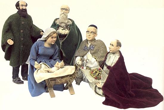 Byl živou předlohou pro vpravo klečící postavu z jesliček manželského páru Pscheidlových z Regenu