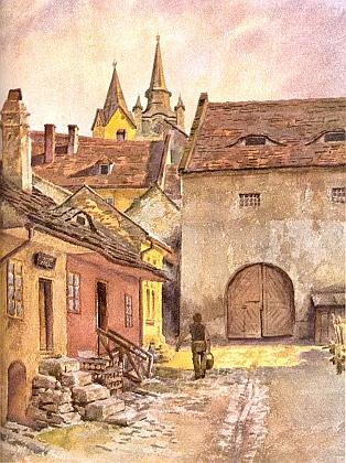 Dvůr fary ve Vimperku na akvarelu Wilhelma Fischera
