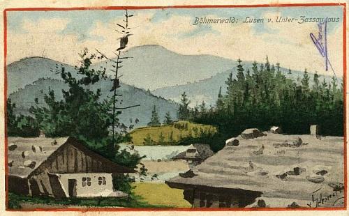 Hora Luzný od jeho rodného Dolního Cazova na staré malované pohlednici
