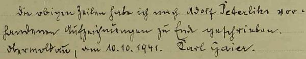 Závěr jeho zpápisu v hornovltavické obecní kronice z roku 1941
