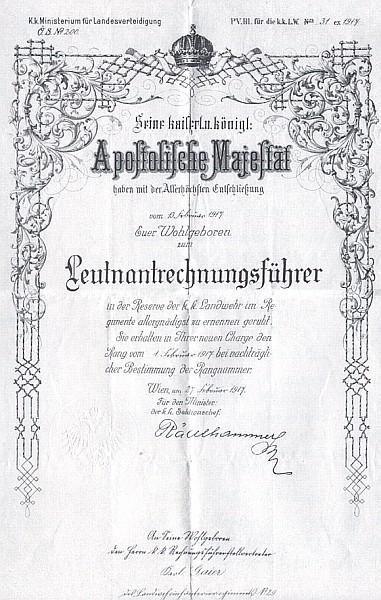 Listina o udělení hodnosti poručíka c.k. zeměbrany z roku 1917