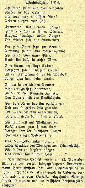 Báseň napsaná 22. listopadu 1914 Gustavem Gallem z Krejčovic u sibiřského Krasnojarsku a ochuzená ruskou cenzurou o dvě sloky