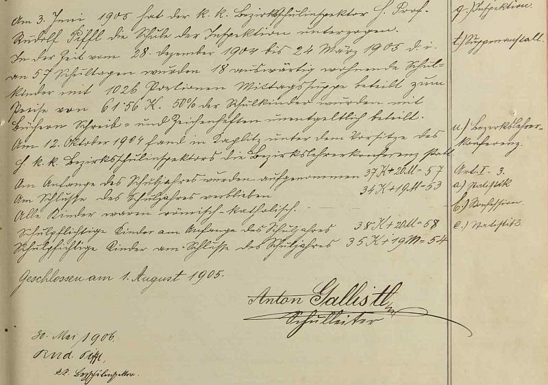 Jeho zápis s podpisem ve školní kronice Dolního Markschlagu...