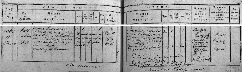 Záznam oddací matriky farní obce Přídolí o svatbě jeho rodičů