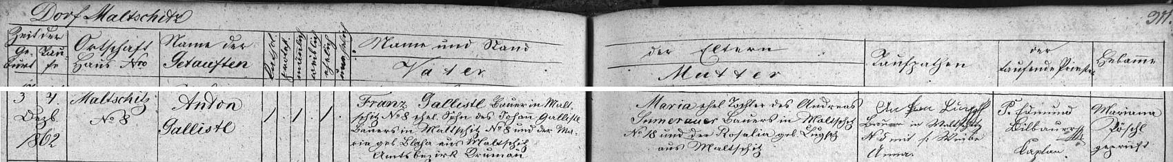 Záznam o jeho narození v křestní matrice farní obce Přídolí