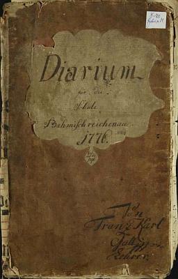 Desky jeho Diaria s jeho krasopisně napsaným jménem