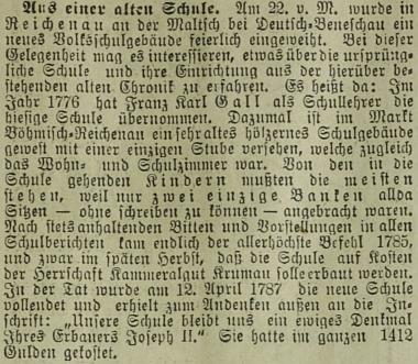 Příběh rychnovské školy poněkud překvapivě nacházíme ve vídeňských novinách z roku 1907