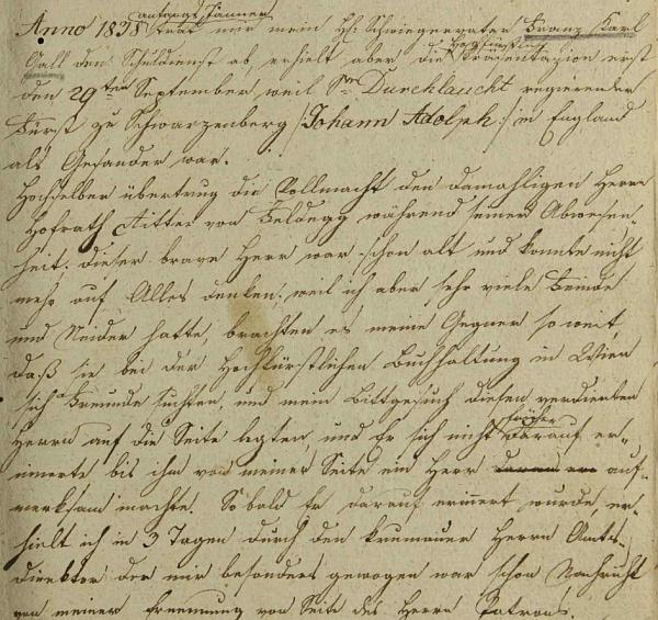 Zápis Gallova zetě Böhma o tchánově vystoupení ze školní služby v roce 1838