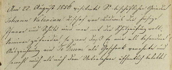 Zápis o návštěvě biskupa Jirsíka na rychnovské faře a škole rovněž pořídil zřejmě už Gallův zeť Joseph Böhm