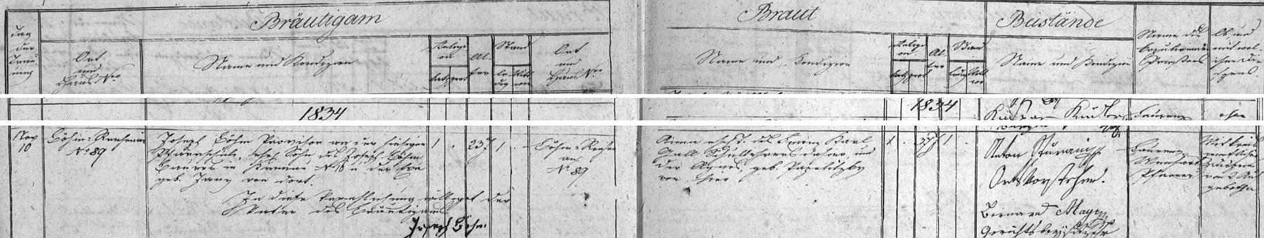 V roce 1834 si jeho dcera Anna bere podle tohoto matričního záznamu provizora farní školy v Rychnově nad Malší Josepha Böhma, syna sedláka z Českého Krumlova čp. 16 Josepha Böhma a jeho ženy Ewy, roz. Janyové