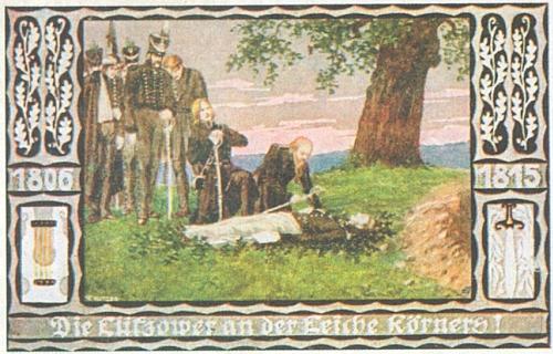 Lützowští myslivci u mrtvoly Theodora Körnera na pohlednici sdružení Bund der Deutschen in Böhmen