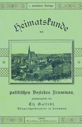 """Obálka prvého a druhého vydání jeho vlastivědy """"politického okresu Krumlov"""""""