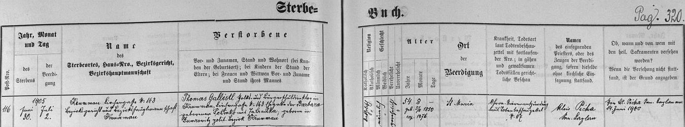 Záznam v českokrumlovské knize zemřelých o skonu Gallistlově zachycuje kromě místa (Kirchengasse čp. 163) i příčinu úmrtí, chronický zánět ledvin a také jméno vdovino: Barbara, roz. Schinko z osady Zahrádka, farnost Přídolí, dovídáme se rovněž, že zesnulý byl pochován na českokrumlovském hřbitově Panny Marie (Sankt Maria) 2. července 1905