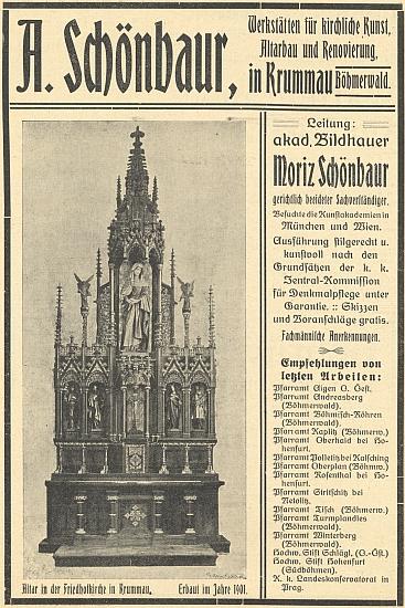 Inzerát krumlovské firmy Schönbaur s detailním snímkem oltáře hřbitovní kaple Panny Marie, zbudovaného vroce1901