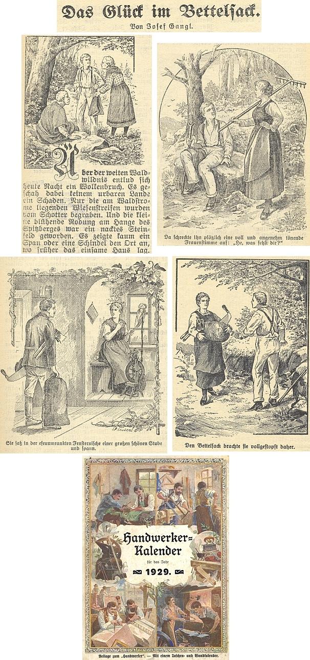 """Jeho povídka o """"štěstí v žebráckém ranci"""" na stránkách budějovického kalendáře nakladatelství """"Moldavia"""" na rok 1929, jehož ilustrace se signaturou """"Student"""" mají nenahraditelnou patinu """"potravy pro lid"""""""