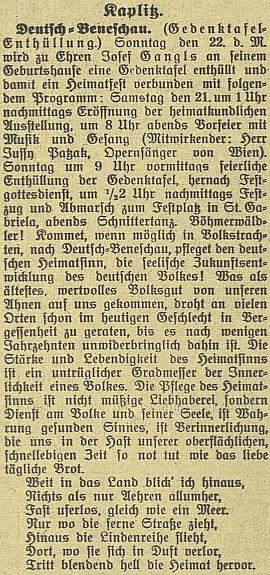 Zpráva českobudějovického německého listu o odhalení pamětní desky na jeho rodném domě připojuje na závěr i několik Ganglových zřejmě veršů