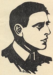 """Na kresbě Gustava Schustera, kterou její autor doprovodil svůj článek o něm v příloze """"Der Wanderstecken"""" krajanského měsíčníku """"Hoam!"""""""