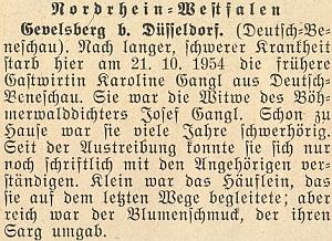 Jeho vdova podle této zprávy v krajanském měsíčníku zemřela v Gevelsbergu u Düsseldorfu (spolková země Severní Porýní-Vestfálsko) až v říjnu roku 1954, tedy plných 38 let po svém manželovi