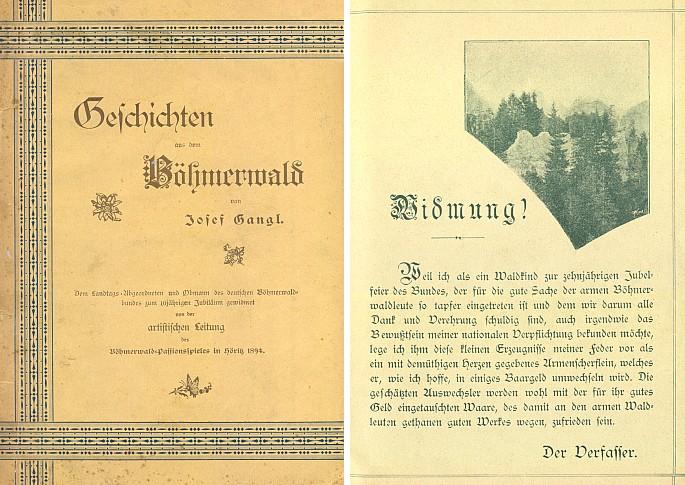 Obálka (1894) a věnování jeho knihy k 10. jubileu německého Böhmerwaldbundu