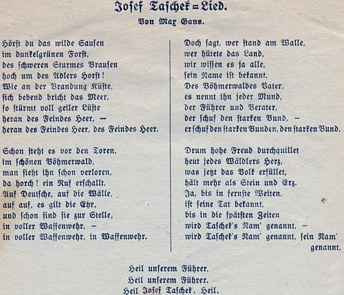 Sborník písňových textů (1924) i s jeho písní o Josefu Taschekovi