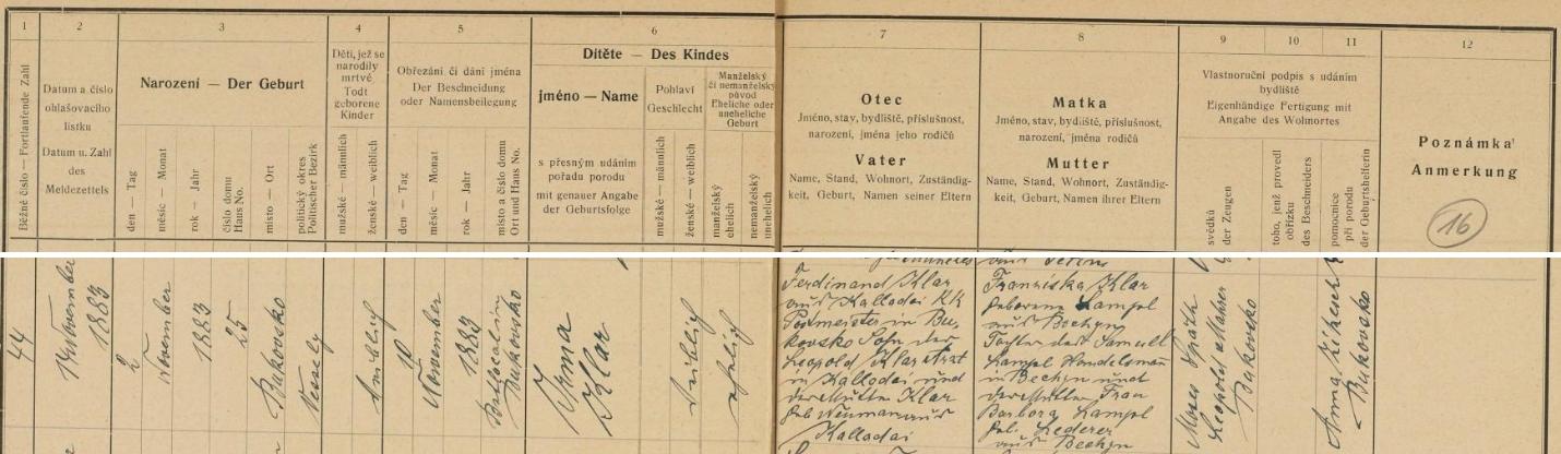 Záznam kolodějské židovské matriky o narození jeho ženy Irmy